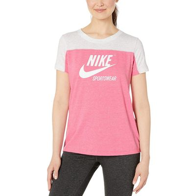 Nike - Nike Birch Heather/Lotus Pink/Lotus Pink/Sail Sportswear Gym Vintage Top Short Sleeve Graphics