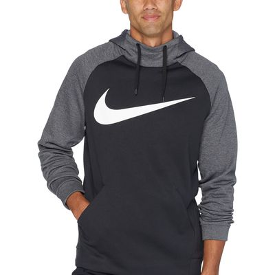 Nike - Nike Black/Charcoal Heather/White Thermal Hoodie Swoosh Essential