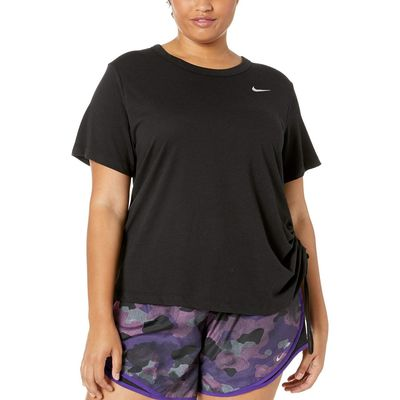 Nike - Nike Black/Reflective Silver Miler Top Short Sleeve Cinch (Size 1X-3X)
