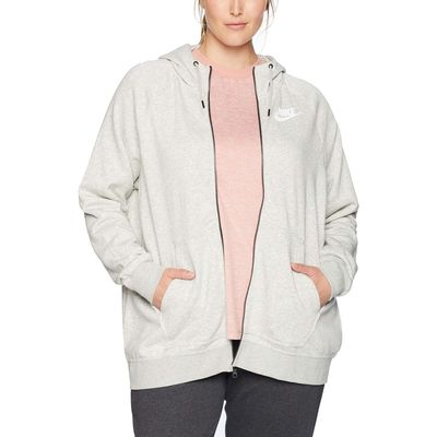 Nike - Nike Grey Heather/Pale Grey/White Plus Size Rally Full Zip Extended Hoodie