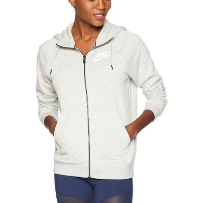 Nike - Nike Grey Heather/Pale Grey/White Rally Hoodie Full Zip