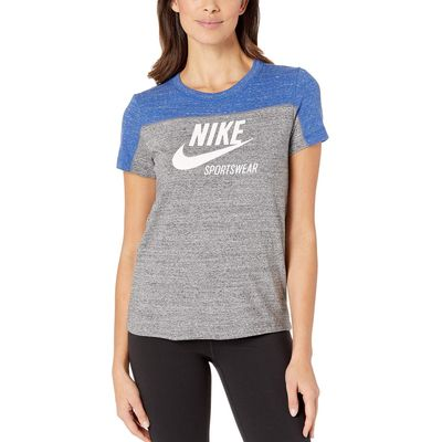 Nike - Nike Indigo Force/Carbon Heather/Sail Sportswear Gym Vintage Top Short Sleeve Graphics