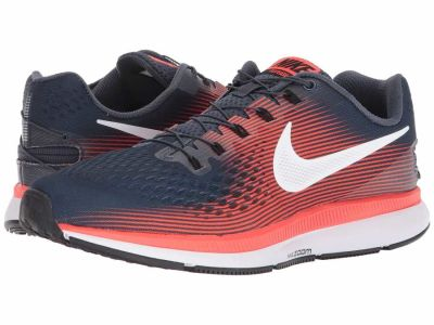 Nike - Nike Men's Thunder Blue White Bright Crimson Black Air Zoom Pegasus 34 FlyEase Running Shoes