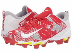 Nike Men's University Red White White Wolf Grey Vapor Untouchable Shark 3 Cleats - Thumbnail