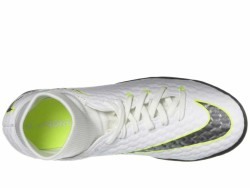 Nike Men's White Metallic Cool Grey Volt Metallic Cool Grey Hypervenom PhantomX 3 Academy Dynamic Fit TF Cleats - Thumbnail