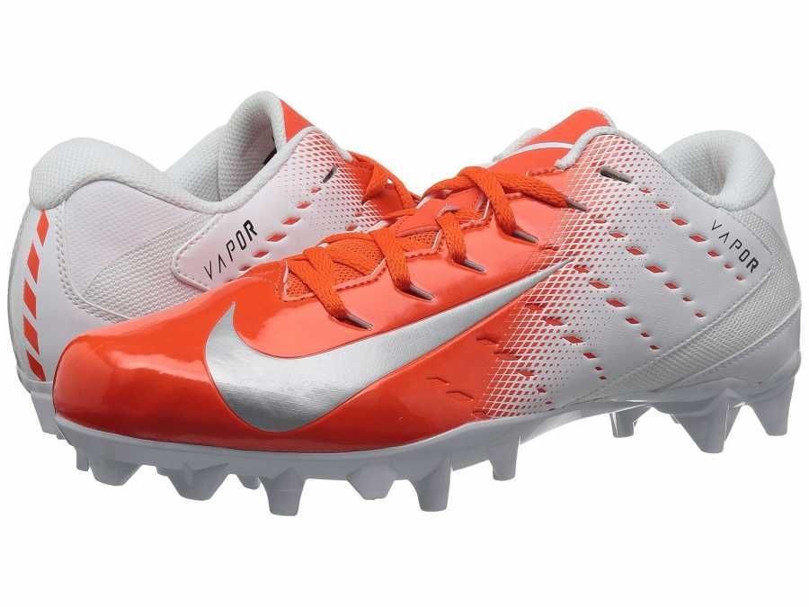 Nike Men's White Metallic Silver Rush Orange Black Vapor Varsity 3 TD Cleats