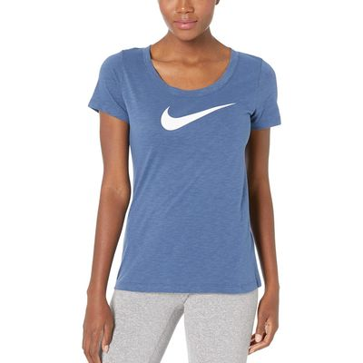 Nike - Nike Mystic Navy/Heather/White Dry Tee Scoop Swoosh Cross-Dye