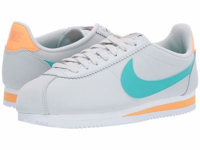 Nike - Nike Women Pure Platinum/Hyper Jade/Fuel Orange Classic Cortez Leather Lifestyle Sneakers