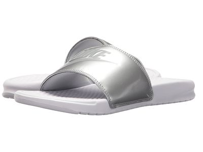 Nike - Nike Women White/Wolf Grey/Metallic Silver Benassi Jdi Slide Active Sandals