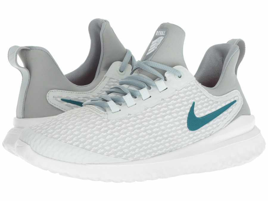 Nike Women's Barely Grey Geode Teal Hot Punch Renew Rival Running Shoes