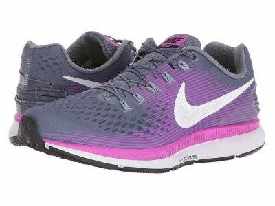Nike - Nike Women's Light Carbon White Hyper Violet Air Zoom Pegasus 34 FlyEase Running Shoes
