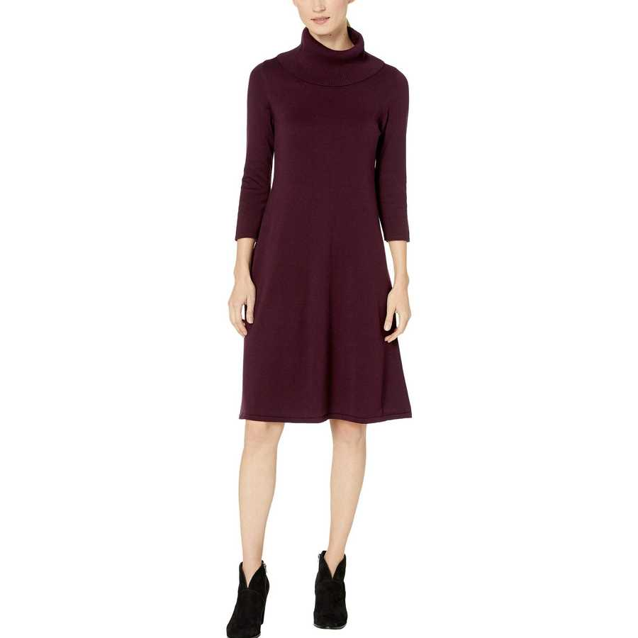 Nine West Aubergine Cowl Neck Fit-And-Flare Knit Dress