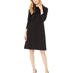 Nine West Black Cowl Neck Fit-And-Flare Knit Dress - Thumbnail