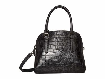 Nine West Black Multi Carrigan Dome Satchel Handbag
