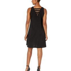 Nine West Black Soft Crepe Sleeveless Trapeze Dress - Thumbnail