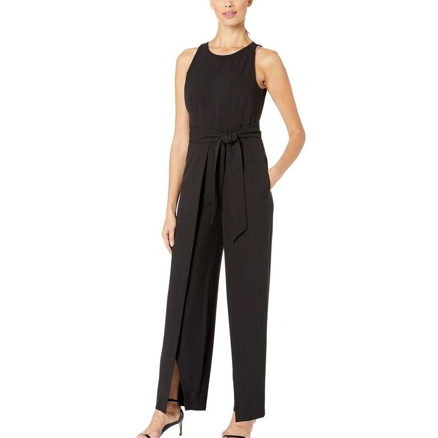 Nine West Black Textured Crepe Sleeveless Jumpsuit Belted With A Flyaway Pants