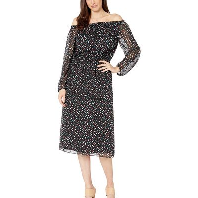 Nine West - Nine West Black/Honolulu Multi Sprinkle Dot Midi Long Sleeve Peasant Dress