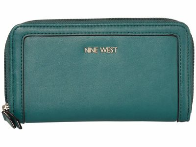 Nine West - Nine West Bottle Green Vesper Slg Full Of Sparkle Zip Around Bifold Wallet Checkbook Wallet