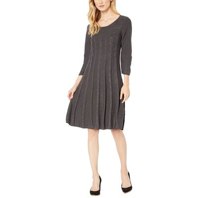 Nine West - Nine West Charcoal Heather Crew Neck Cable Fit-And-Flare Knit Dress