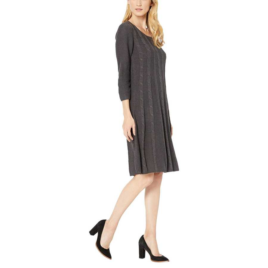Nine West Charcoal Heather Crew Neck Cable Fit-And-Flare Knit Dress