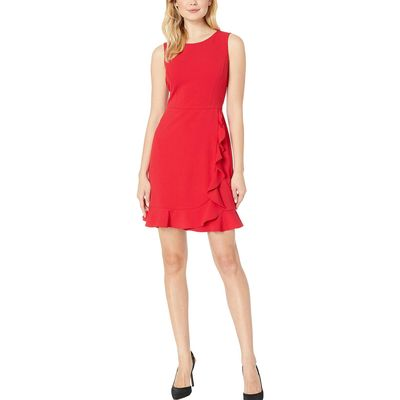 Nine West - Nine West Crimson Sleeveless Jewel Neck Crepe Dress W/ Asymmetrical Skirt Ruffle