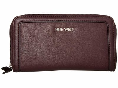Nine West - Nine West Dark Garnet Vesper Slg Full Of Sparkle Zip Around Bifold Wallet Checkbook Wallet