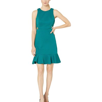 Nine West - Nine West Emerald Circle Jacquard Sleeveless Dress With Panel Hem