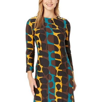 Nine West - Nine West Emerald Multi Giraffe Printed Crepe T-Shirt Dress W/ Button Detail
