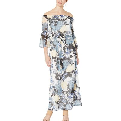 Nine West - Nine West Ivory/Admiral Multi Off The Shoulder Maxi Dress W/ Self Sash