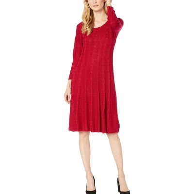 Nine West - Nine West Rogue Crew Neck Cable Fit-And-Flare Knit Dress