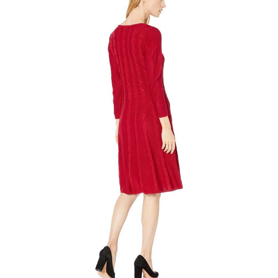 Nine West Rogue Crew Neck Cable Fit-And-Flare Knit Dress