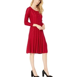 Nine West Rogue Crew Neck Cable Fit-And-Flare Knit Dress - Thumbnail
