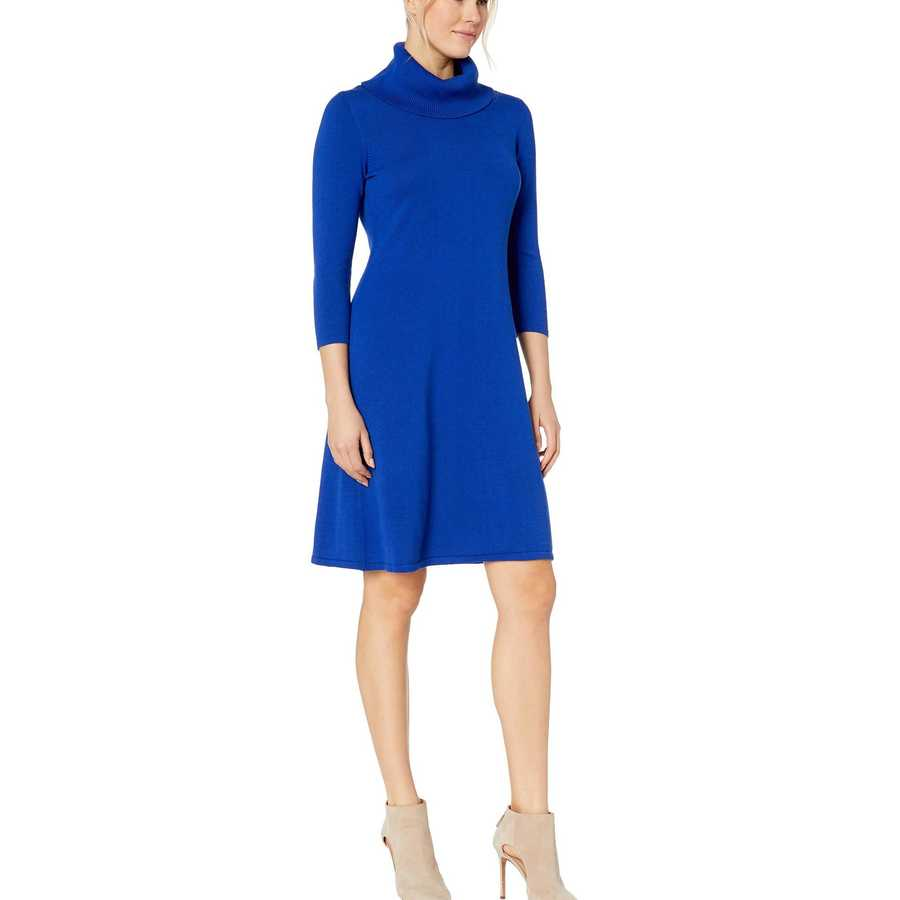 Nine West Royal Blue Cowl Neck Fit-And-Flare Knit Dress
