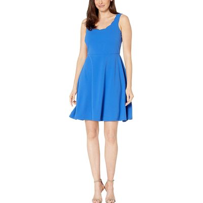 Nine West - Nine West Royal Drapey Crepe Sleeveless Fit & Flare Dress W/ Scallop Neckline