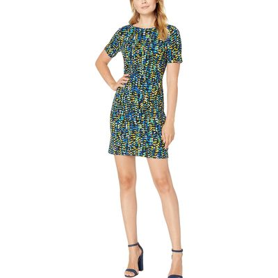 Nine West - Nine West Sapphire Multi Printed Scuba Crepe Short Sleeve Bateau Neck Dress