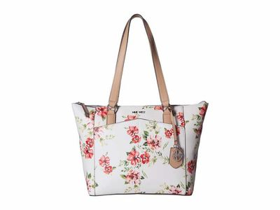 Nine West - Nine West White Multi Atwell Tote Handbag