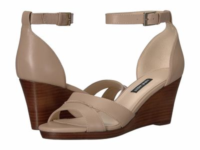 Nine West - Nine West Women Barely Nude Jabrina Wedge Sandal Heeled Sandals