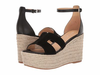 Nine West - Nine West Women Black Adelyn Espadrille Wedge Wedge Heels