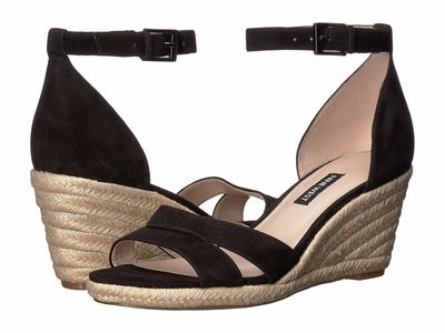Nine West - Nine West Women Black Jabrina Espadrille Wedge Sandal Heeled Sandals