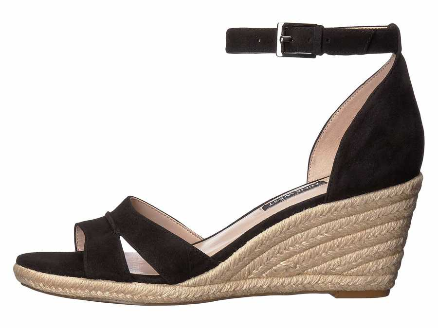 Nine West Women Black Jabrina Espadrille Wedge Sandal Heeled Sandals