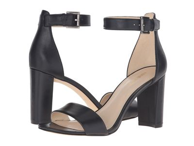 Nine West - Nine West Women Black Leather Nora Block Heel Sandal Heeled Sandals