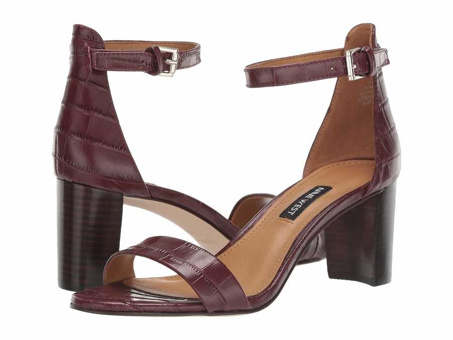 Nine West Women Bordo Pruce Block Heel Sandal Heeled Sandals