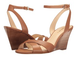 Nine West Women Dark Natural Leather Kami Wedge Sandal Heeled Sandals - Thumbnail
