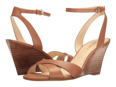 Nine West - Nine West Women Dark Natural Leather Kami Wedge Sandal Heeled Sandals