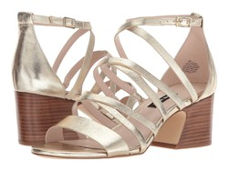 Nine West Women Light Gold Metallic Youlo Strappy Block Heel Sandal Heeled Sandals - Thumbnail