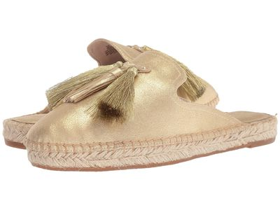 Nine West Women Light Gold Suede Val Espadrille Mule Loafers