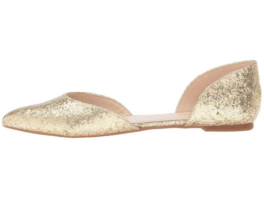 Nine West Women Light Gold Synthetic Starship D'Orsay Flat Flats