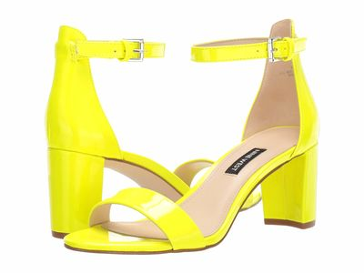 Nine West - Nine West Women Neon Yellow Pruce Block Heel Sandal Heeled Sandals