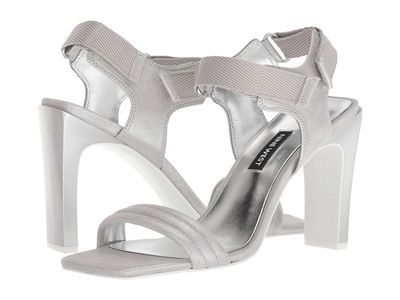 Nine West - Nine West Women Silver Metallic Zebree Heeled Sandals