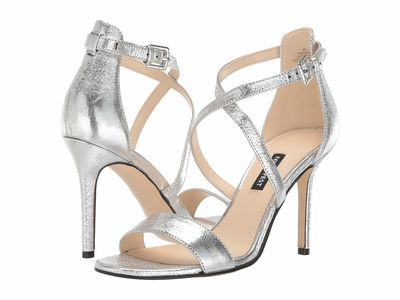 Nine West - Nine West Women Silver Mydebut Heeled Sandals